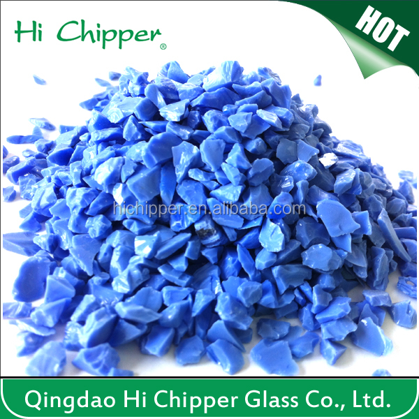 Dark blue colored terrazzo artificial stone and garden decoration opaque glass chips