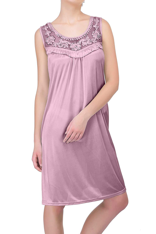 Get Quotations · EZI Women s Nightgowns18 Sleeveless 100% Polyester Ruffle  Gown 200a1daa1