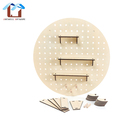 Home Adjustable Wall Decoration Organizer Display Stand Round Wooden Pegboard