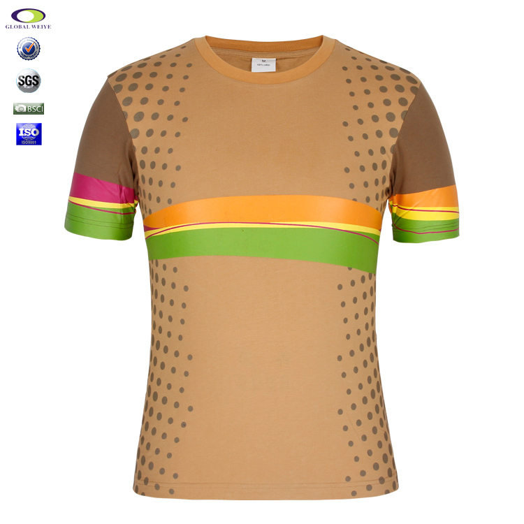 Fashion Cotton Dot Printing Splicing T Shirt 190 Grams Wholesale