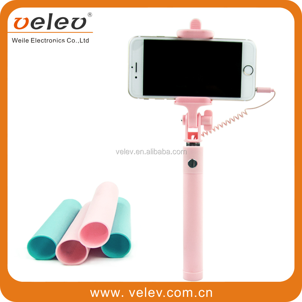 2015 New Arrival selfie stick private label, wholesale Best seller wired selfie stick on Alibaba