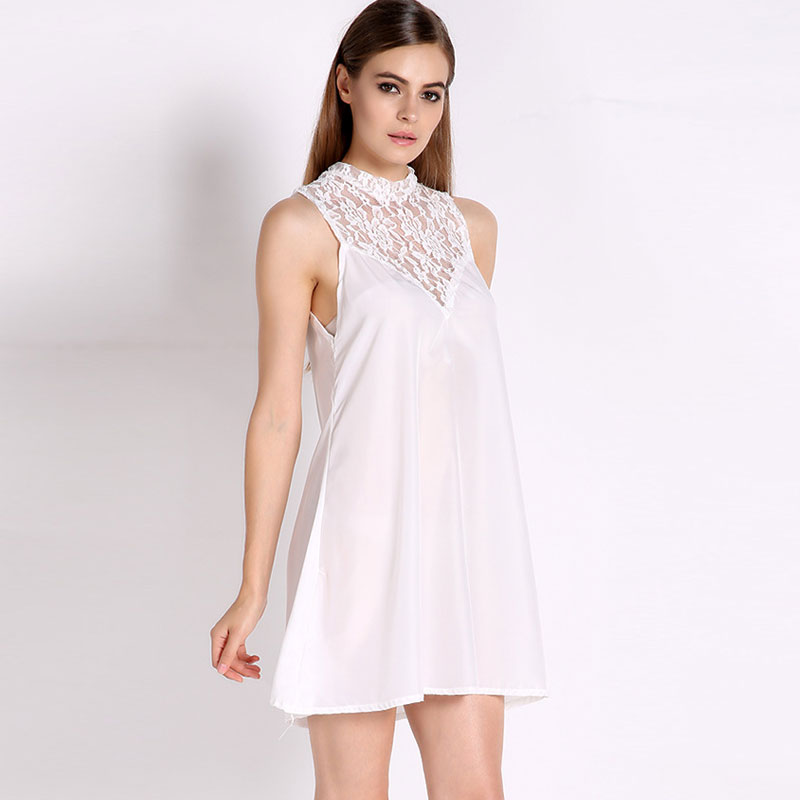 2015 New Arrival Lace Crochet Pactchwork Solid Color Sleevless Loose Backless Sexy Dress Elegant Women Summer Casual Dress