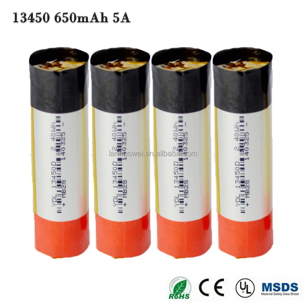 good quality mini 13450 rechargeable lithium ion polymer battery 3.7v 650mah lipo battery for cell phone