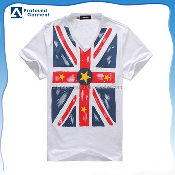ff992347628 Custom clothing made in china 100 cotton screen printing V neck flag t  shirts for men