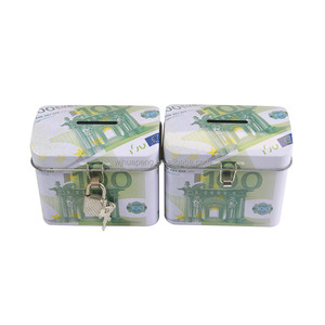 Metal gift tin money hidden treasure box/piggy bank coins saving box with lock and key for kids