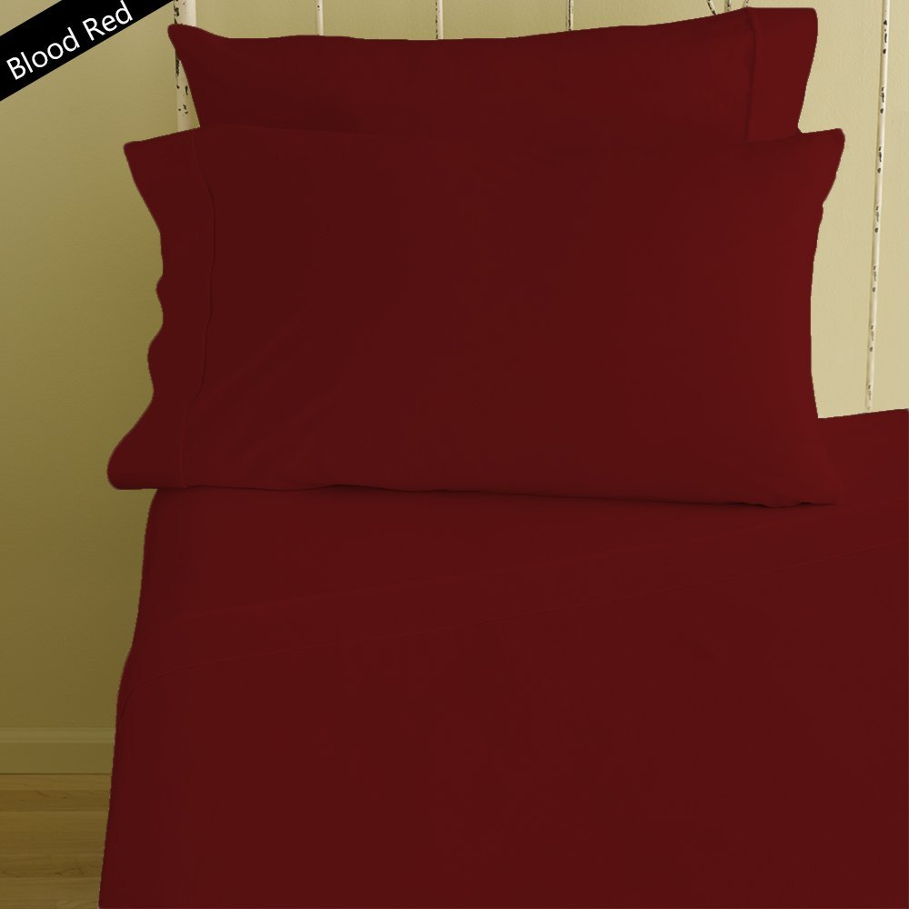 Lussona Collection 1500 Thread Count 100% Organic Cotton Bed Sheets - 4 Piece Bed Sheet Set 25'' Deep Pocket HIGHEST QUALITY & LOW PRICE- Wrinkle Free Hypoallergenic Bedding- Olympic Queen,Blood Red.