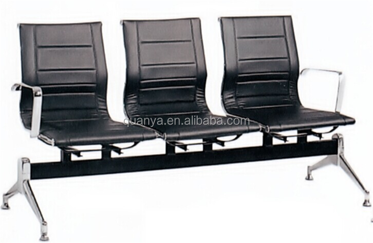 Quanya office waiting room chair hospital waiting bench 3-seat PU padded waiting area bench for aiport