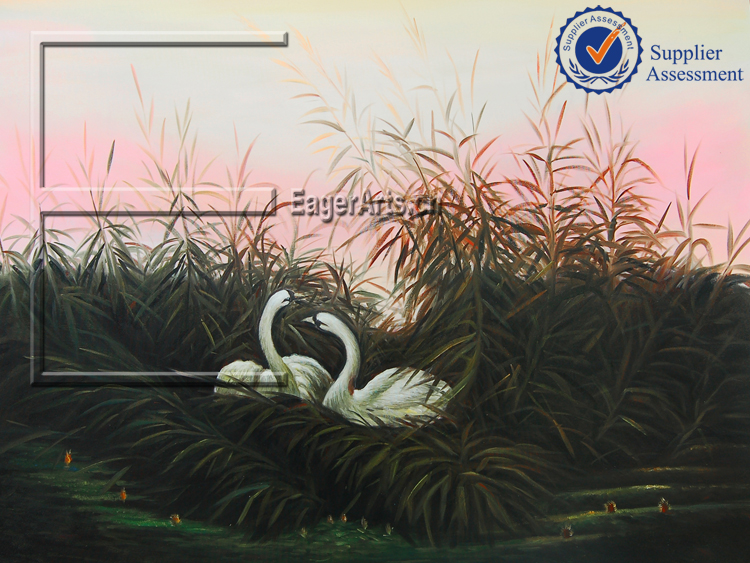 Wholesale High Quality Handpainted Canvas Art Home Decoration Oil Painting Swans