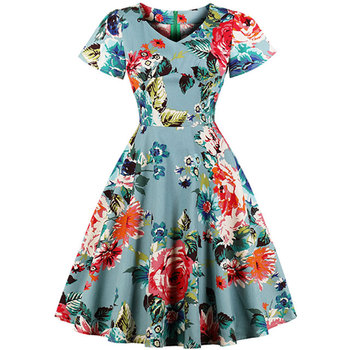 African Fashion Women\'s Plus Size Linen Ruched Ruffle Sleeve V Neck Rose  Floral Vintage Swing Dress - Buy Linen Dress,Plus Size Dress Skirts,African  ...