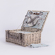 Woven insulated cooler heat food fruit fresh handles lid light grey white willow wicker rattan storage picnic basket for kids