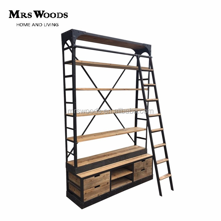 Rustic Iron Reclaimed Wood Bookcase With Ladder