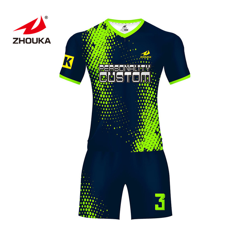 Fluorescence green color Soccer Wear Sublimation soccer warm up suits Clothes mens soccer uniforms tracksuit