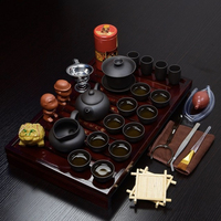 Wooden Tea Tray And Small Tools, Toy Tea Set For Gift Chinese Ceramic Kung Fu Tea Set Black