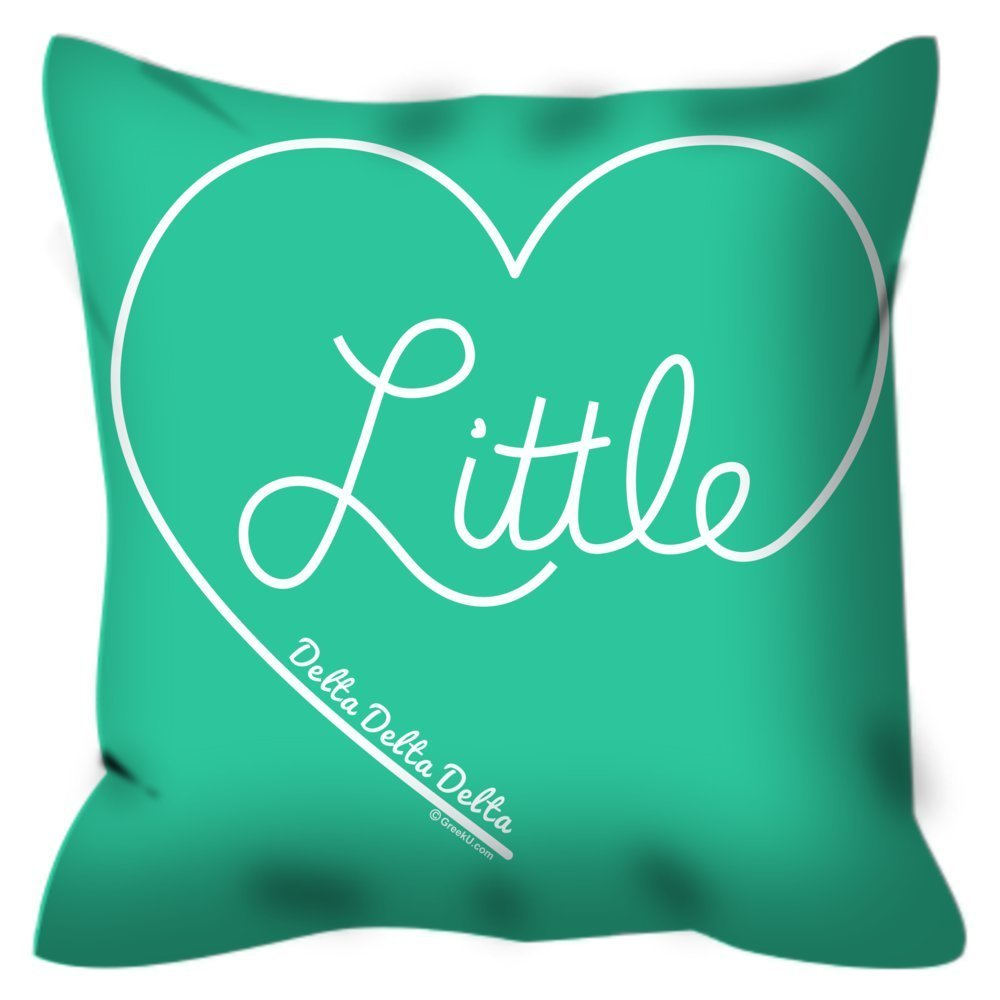 Delta Delta Delta (Tri Delta) Lil Sis Simple Heart 16 inch Decorative Throw Pillow for Couch or Bed