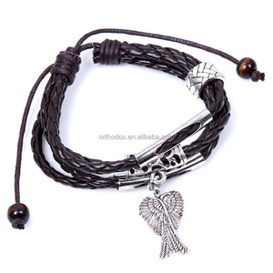 Hot Selling Handmade Zinc Alloy Charm Leather Wrap Jewelry Bracelet