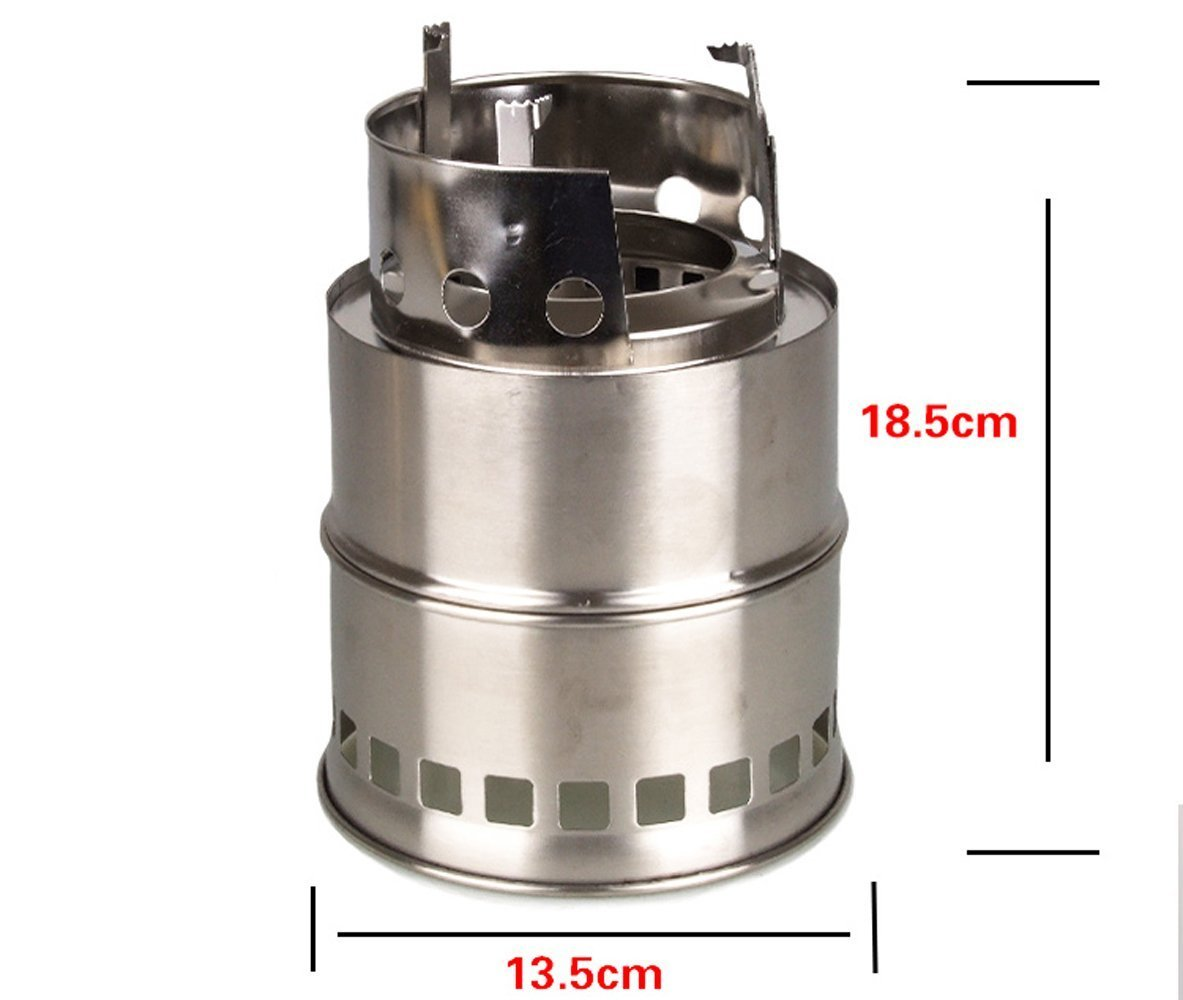 Bonici Potable Stainless Steel Camping Stove Outdoor Cooking Wood Burning Stove