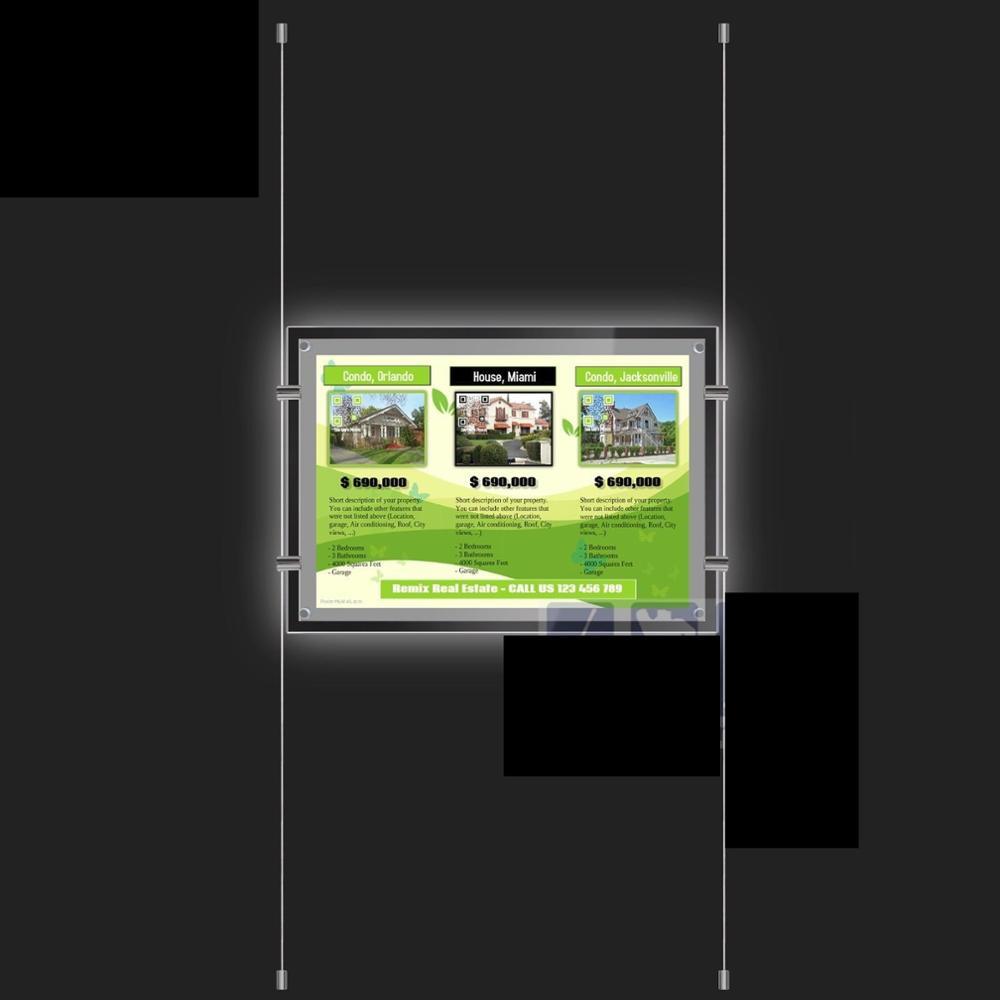 Single Side Acrylic Crystal Led Backlit Poster Light Box Frame For ...