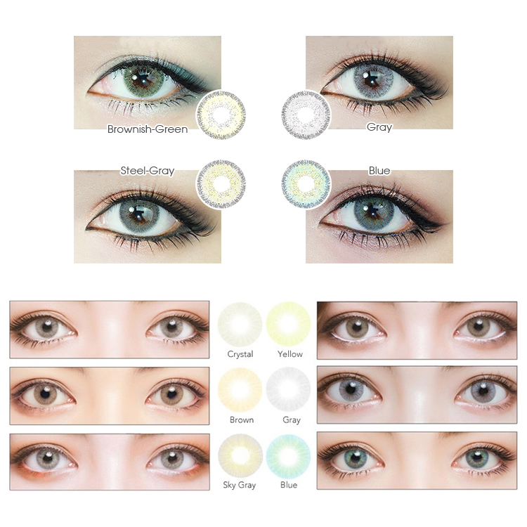 14.2mm diameter Hot sale half year circle lenses colored eye green contact lenses