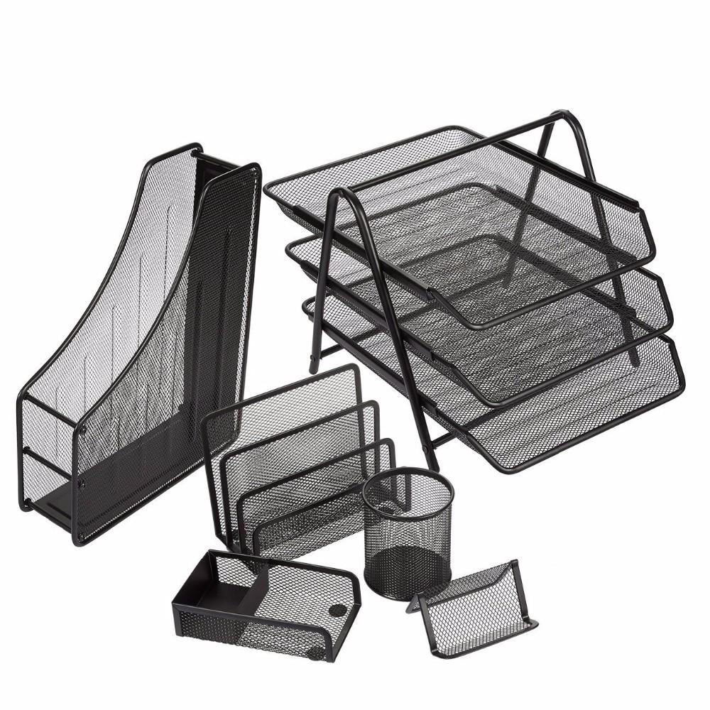 Hochwertige Großhandel Lieferanten China Hersteller neues Design schwarz Eisen Metallgitter Schule Datei Büromaterial