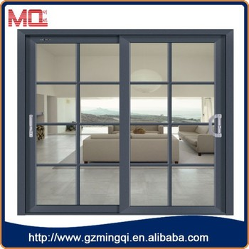 Fashionable Aluminum Top Hanging Sliding Door With Grill Design