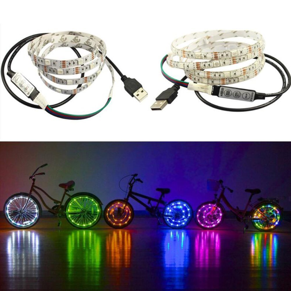 Happy Hours - 30 Beads Per Meter Colorful Light Strings / Waterproof RGB Bicycle Wheel Lights / LED Bike Light Wheel / Color changing LED Strip Front And Back (1.5 Meters)
