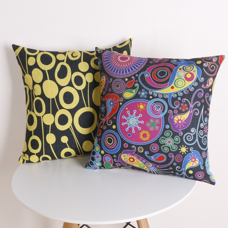 2016 Real Cushion Cover Paisley Pillowcase Bohemian Style Ethnic Printed Chair Seat Home Decorative Throw Pillows Cover Emoji
