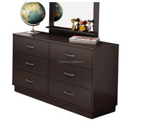 High Quality Chocolate Finish Dresser/ 6 Drawer Single Dresser with Mirror Set in Chocolate