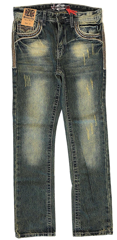 f2174bd53 Get Quotations · Monarchy Collection Boy's Premium Thick Stitch Denim Jeans  Size: