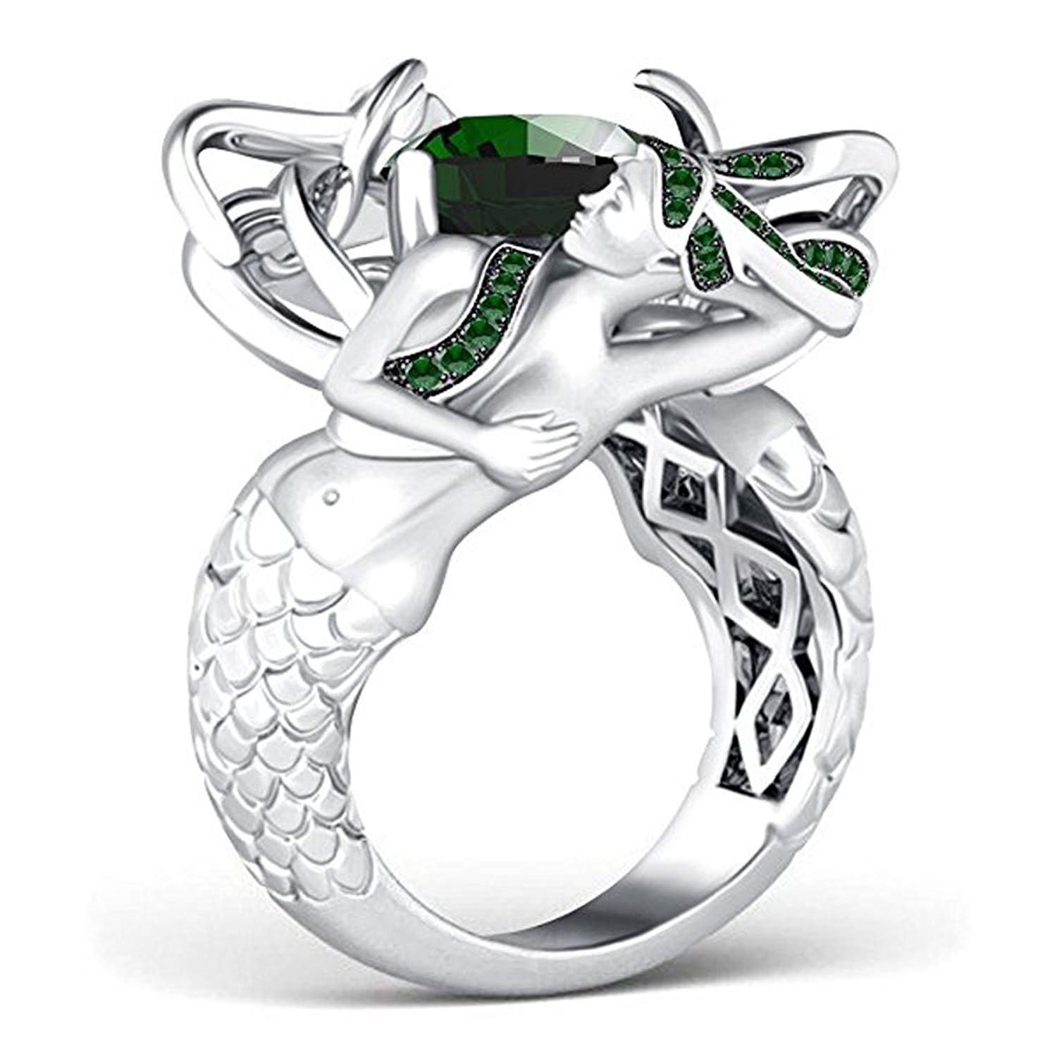 Star Retail Hot Sale!!! 4.00 CT. TW Cushion Cut Green Emerald 14k White Gold Plated Sterling Silver Base Alloy CZ Mermaid Ring For Women's Jewelry