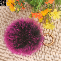 Latest on sale Cute Big Raccoon Fur Ball Key chain Raccoon Fur Pom Poms keychain Real Fur Keyring