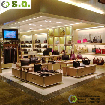Chic Womens Handbag And Shoes Boutique Design Display Showcase