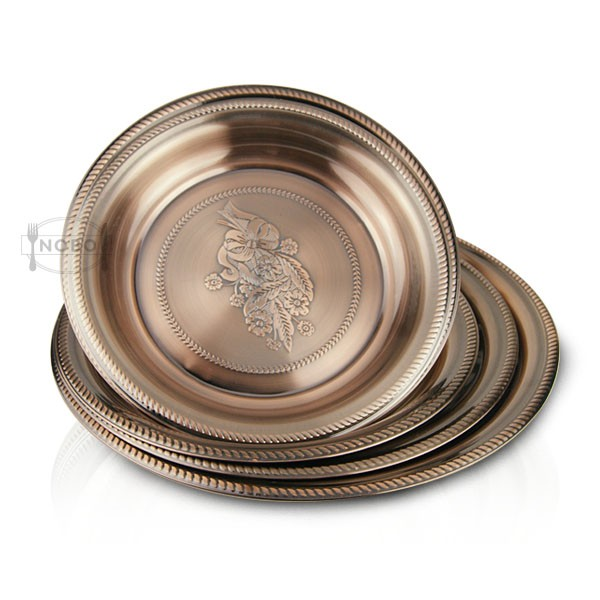 stainless steel copper plate food tray service plate with 25-70cm