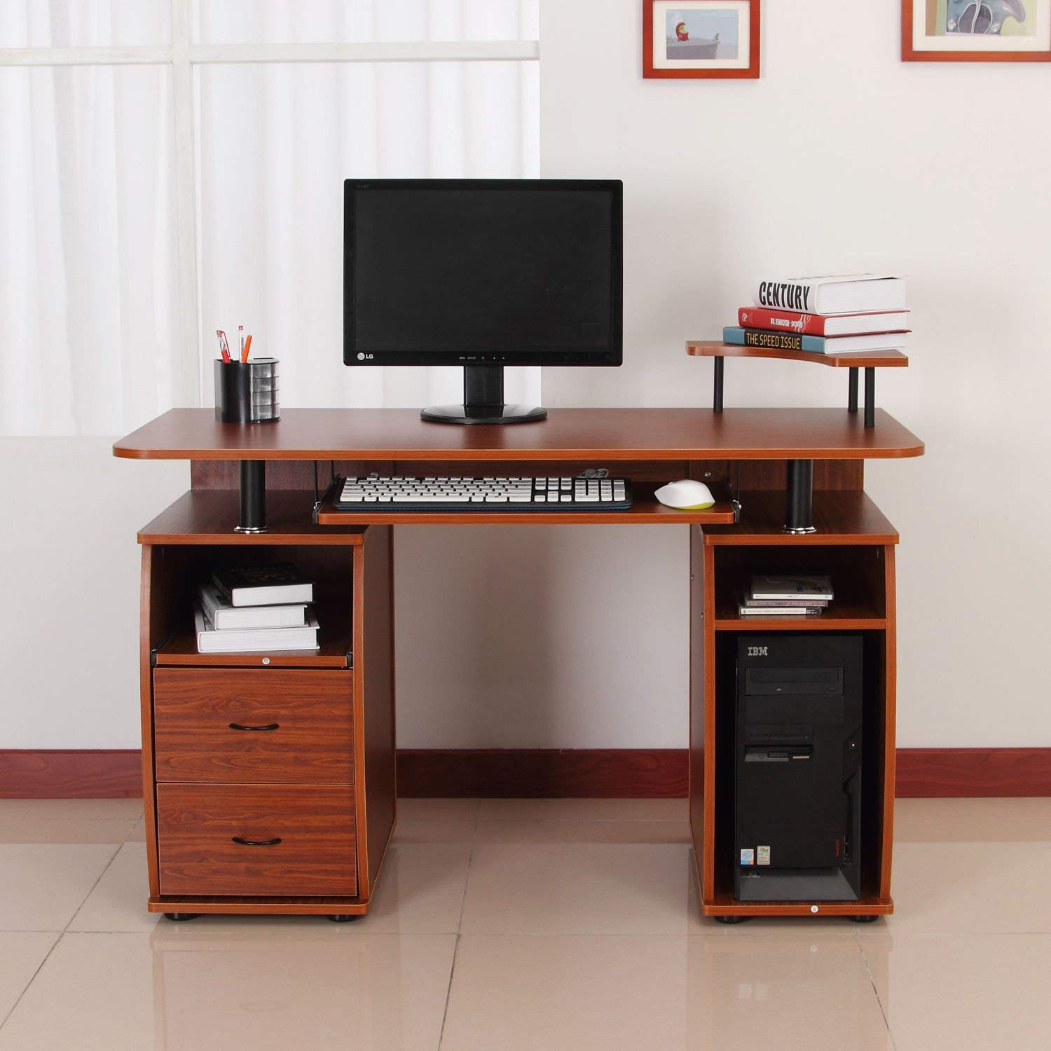 """GHP Home/Office 47.5"""" Wx21.75 Lx33.5 H Powder Coated Steel & MDF Board Computer Desk"""