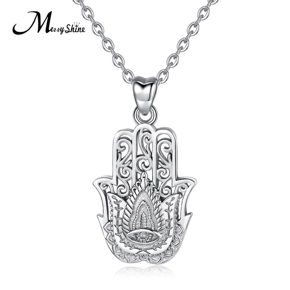 New charm Cabochon Glass Necklace Silver pendants(Fatima's hand