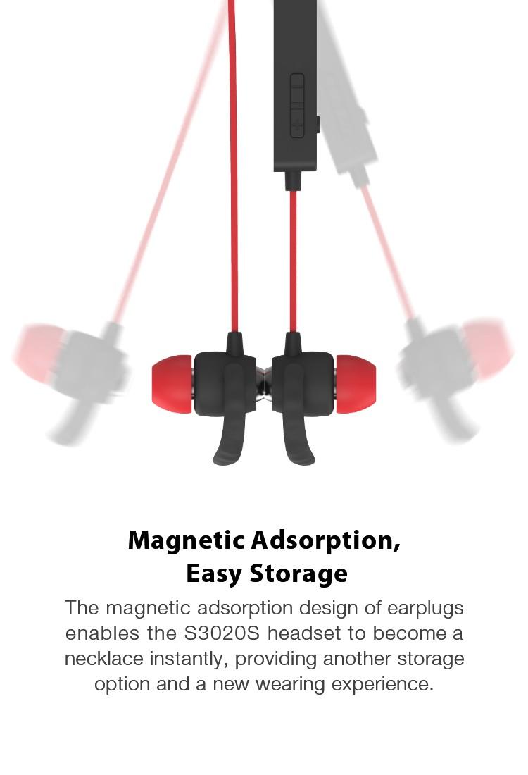 ROMAN S3020S sport Bluetooth earphone metal magnetic Bluetooth headset