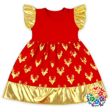 hot sale red color christmas reindeer antler baby girls dress designs childrens clothing girls dresses