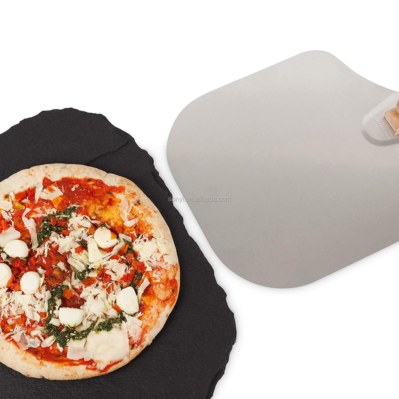 Pizza cooking foldable rectangle aluminium pizza peel with wood handle,easy to instore aluminium foldable pizza peel