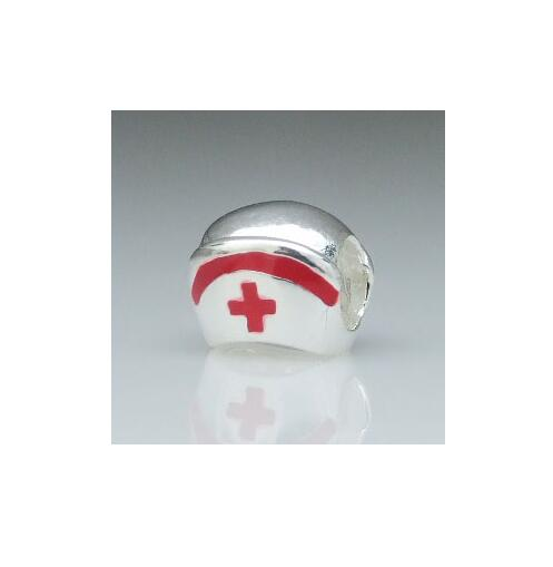 fashion wholesale custom metal silver plated enamel red top hat bead landing