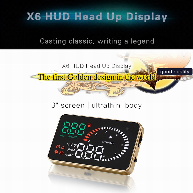 2017 New 3.5 Inch X6 Car HUD Head Up Display Universal OBD/EU OBD Plug&Play Vehicle Speed Fuel Consumption Water Temperature