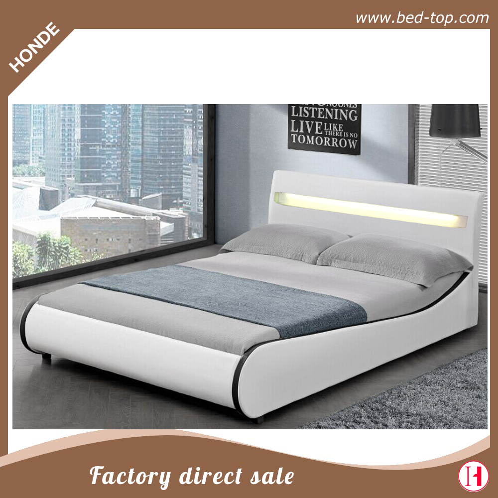 LED bedroom set furniture white luxury LED faux leather bed