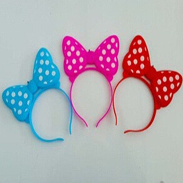 Luminous bow headband red blue led lighting two tone colors flash hairpin hair bands