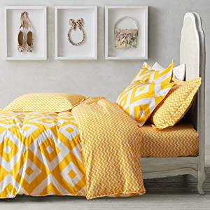 Rhombus Yellow Bedding Duvet Cover Set Kids Bedding Teen Bedding Dorm Bedding Gift Idea, Twin Size