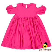 48BQA266 Yihong Summer Plain Hot Pink Girls Cotton Frock Designs Off Shoulder 3 Year Old Baby Girl Dress 2017 Summer Lovely
