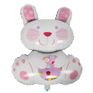 animal shaped helium balloon happy easter party balloons pink rabbit foil balloons