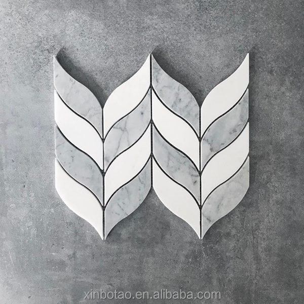 Grey And white Luxe Thassos Carrara Leaf Marble Mosaic