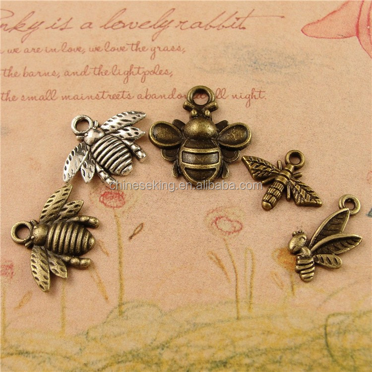 Cute bee charms, bee pendant and charms for keychain parts