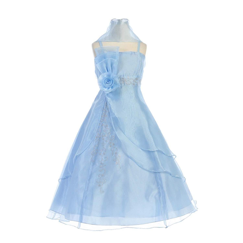37ea0560edb Get Quotations · TGI Kids Little Girls Baby Blue Embroidered Organza Flower  Girl Dress 4-6