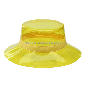 Kids adult folding rain bucket hat Transparent waterproof plastic pvc rain  hat 01464523849