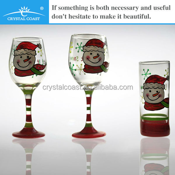 colored wine glass painted short stem wine glass wholesale wine glass charm