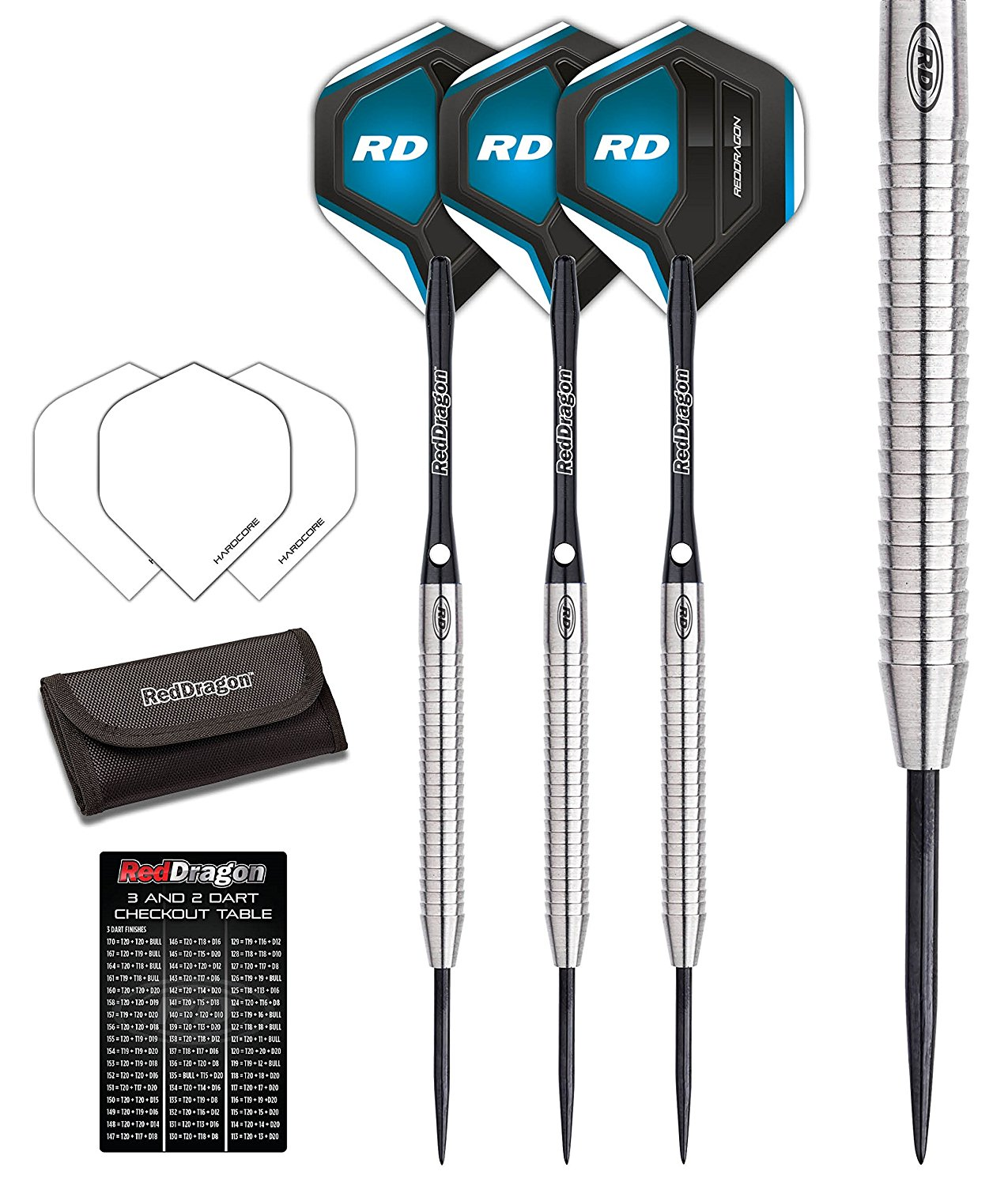 Red Dragon Razor Edge 1: 24g - 85% Tungsten Steel Darts with Flights, Shafts & Wallet & Red Dragon Checkout Card